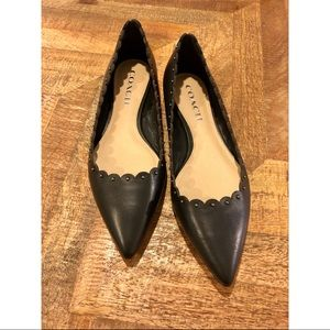 Black Coach Flats with Scallop Edge Detail